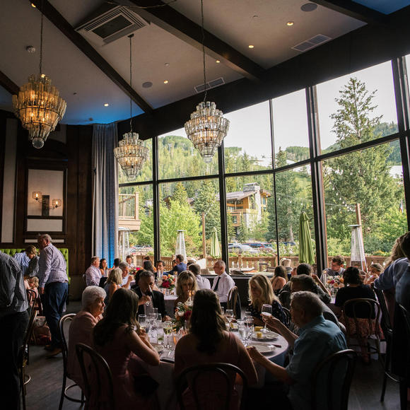 Dining Room with Floor to Ceiling Windows of Vail Mountain